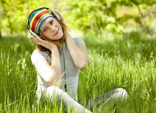 Redhead Girl With Headphone Stock Image