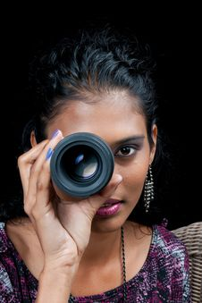 Free Beautiful East Indian Woman With Camera Lens Royalty Free Stock Image - 19517276