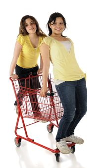 Free Two Girls And A Shopping Cart Stock Images - 19519314
