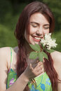 Free Laughing Young Woman With Flower Stock Photo - 19523800
