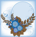 Free Round Frame With Blue Flowers Stock Photography - 19525222