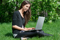 Free Young Woman Sitting In Park And Using Laptop Royalty Free Stock Photography - 19528757