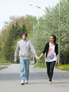 Free Young Couple Walking Together In Park Royalty Free Stock Photography - 19528867