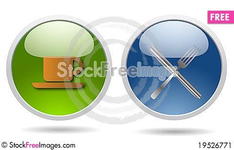 Free Restaurant Glossy Icons Stock Image - 19526771