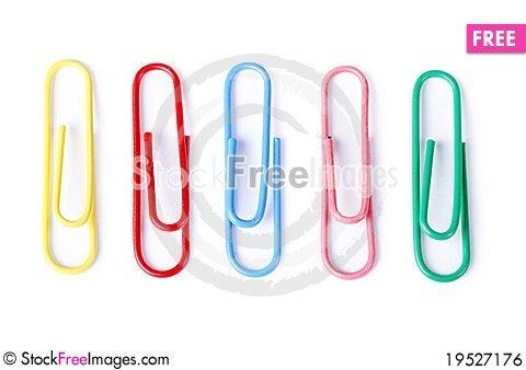 Closeup of multi-colored paper clips Stock Photo