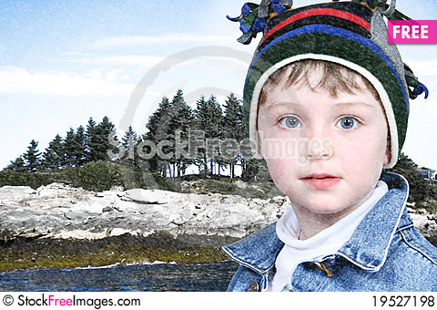 Happy Boy in Winter Clothes at Lake Park in Snow Stock Photo