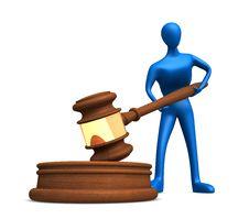 Person With Judicial Gavel Stock Photos