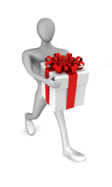 Free Person With A Gift Box Royalty Free Stock Photography - 19520487