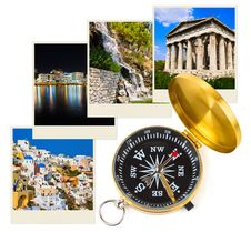 Free Greece Photography And Compass Royalty Free Stock Image - 19522096