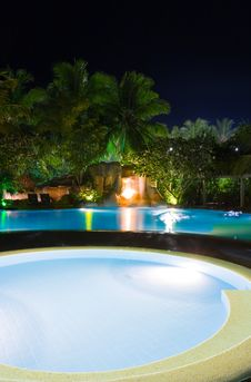 Free Pool And Waterfall At Night Stock Image - 19522151