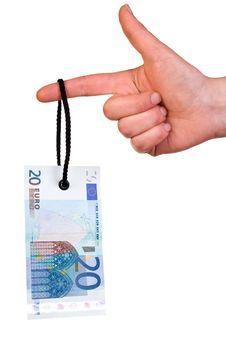 Free Hanging 20 Euro Tag Stock Image - 19522251