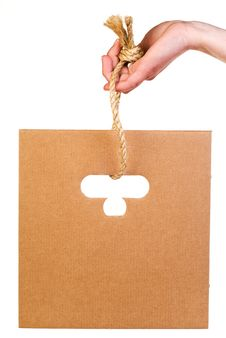 Free Corrugated Cardboard Hanging On Rope Royalty Free Stock Photos - 19522298