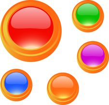 Cartoon Glossy Blank Button Set Stock Photos