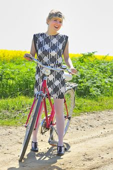Free Young Girl With A Vintage Bicycle Royalty Free Stock Photography - 19523077