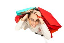 Free Woman With Shopping Bags Royalty Free Stock Photos - 19523558