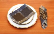 Free Knife And Fork In Textile Napkin Royalty Free Stock Photography - 19524107