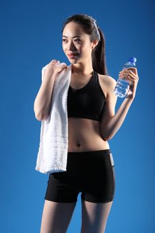 Happy Beautiful Asian Girl After Fitness Workout Royalty Free Stock Photography