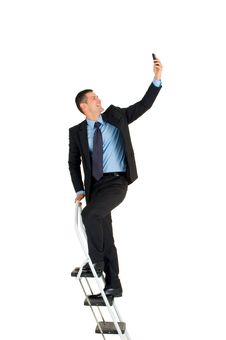 Free Businessman On A Ladder Royalty Free Stock Images - 19524549