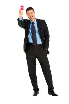Free Businessman With A Red Card Stock Images - 19524564