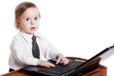 Free Cute Baby Businessman Working On His Laptop Royalty Free Stock Photos - 19524588