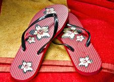 Flipflops On A Beach Towel Royalty Free Stock Image