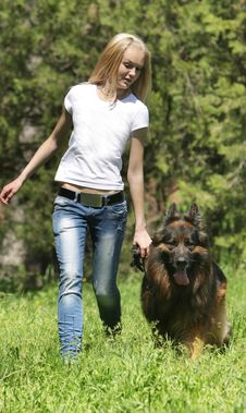 Free Girl With Dog Outdoors Royalty Free Stock Image - 19525516