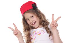 Free Girl White V Sign Over White Royalty Free Stock Image - 19525586