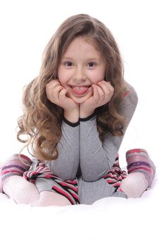 Free Happy Girl Over White Stock Photo - 19525600