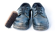 Free Old Safety Shoes And Brush Royalty Free Stock Image - 19526156