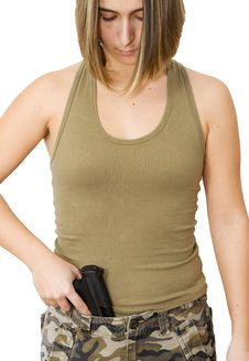 Free Woman With A Gun Isolated Stock Images - 19526314