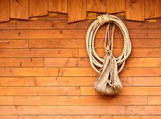 Old Texture Of Wooden Boards With Ship Rope. Stock Photography