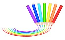 Free 7 Colored Pencils Paint Rainbow Royalty Free Stock Images - 19526569
