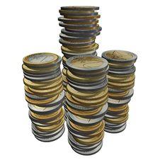 Free 3d Euro Golden Coins Stock Photography - 19526682