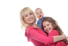 Free Mother And Two Chidren Over White Stock Images - 19526704