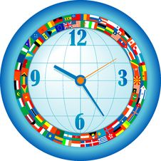 Free Clock With Flags Royalty Free Stock Photos - 19526728