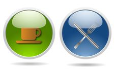 Restaurant Glossy Icons Stock Image