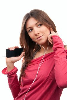 Woman Listening, Enjoying Music, Holding Mp3 Pleer Stock Images