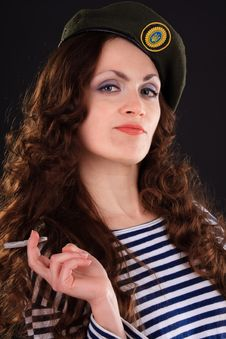 Free Girl In A Military Beret Stock Photography - 19528072