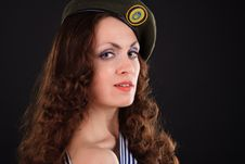 Free Girl In A Military Beret Royalty Free Stock Photography - 19528077