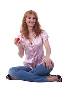 Free Senior Woman In Jeans Sit With Apple Stock Image - 19528601