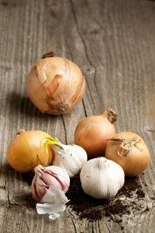 Free Garlics And Onions On Wood Stock Photos - 19528603
