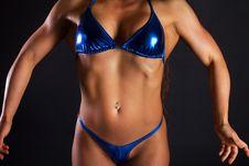 Woman Wearing Blue Bikini Stock Image