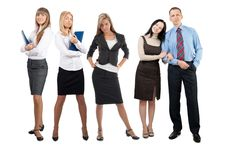 Free Portrait Of Five Confident Businesspeople Stock Images - 19529654