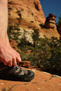 Free Tying Hiking Shoe In Zion National Park Royalty Free Stock Image - 19534226