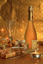 Free Bottle Of Champagne, Glasses And Gifts Stock Photo - 19535690
