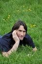 Free Man, Lying On Green Grass Stock Photos - 19538463