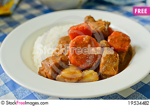 Japanese style curry rice Stock Photo