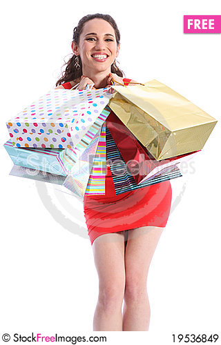 Beautiful woman excited after shopping trip Stock Photo
