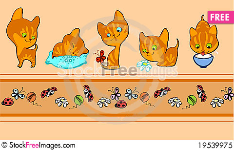 Border with a red kittens Stock Photo