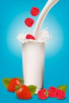 Free Raspberry And Strawberry Falling Into The Milk Royalty Free Stock Images - 19531799